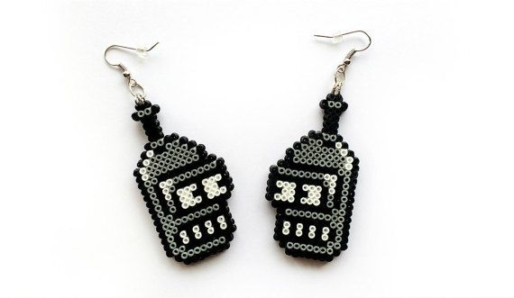 Bender Earrings - Mini Perler Beads, Mini Hama Beads, Hook or Clip-On, Geek Nerd Gifts, Pixel Jewelry, Robot Earrings