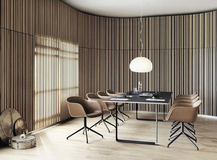 FIBER arm-chair in cognac leather + swivel base with 70/70 table #fiberchair #iskosberlin #muuto #muutodesign #scandinaviandesign