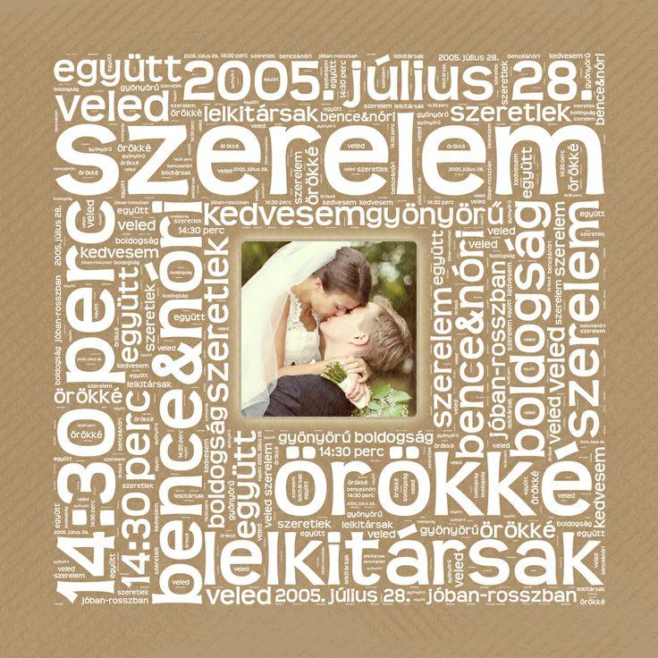 BETŰKÉP Négyzet alakban, a Ti fényképetekkel Valentin-napra, házassági-vagy kapcsolat évfordulóra, / Personalized Photo Canvas with Heart Shaped words for Valentine's day or anniversity