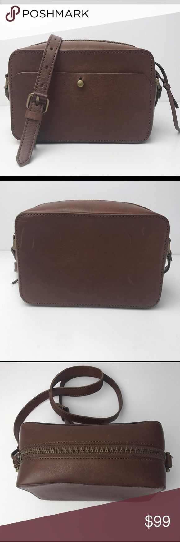 """*NEW!* Madewell Manchester Brown Leather Crossbody A take-everywhere crossbody that gives a nod to a classic '70s camera bag. Compact but surprisingly roomy, this is the cool girl's going-out pick.  Made of semi vegetable-tanned leather with a softly worn waxed finish that deepens into a distinctive patina. Please note: As it is made of a natural material, each bag varies slightly in texture and color. Zip closure. Interior pocket. 23 5/8"""" shoulder strap. 5 1/8""""H x 7 7/8""""W x 3 1/2""""D. *NO…"""