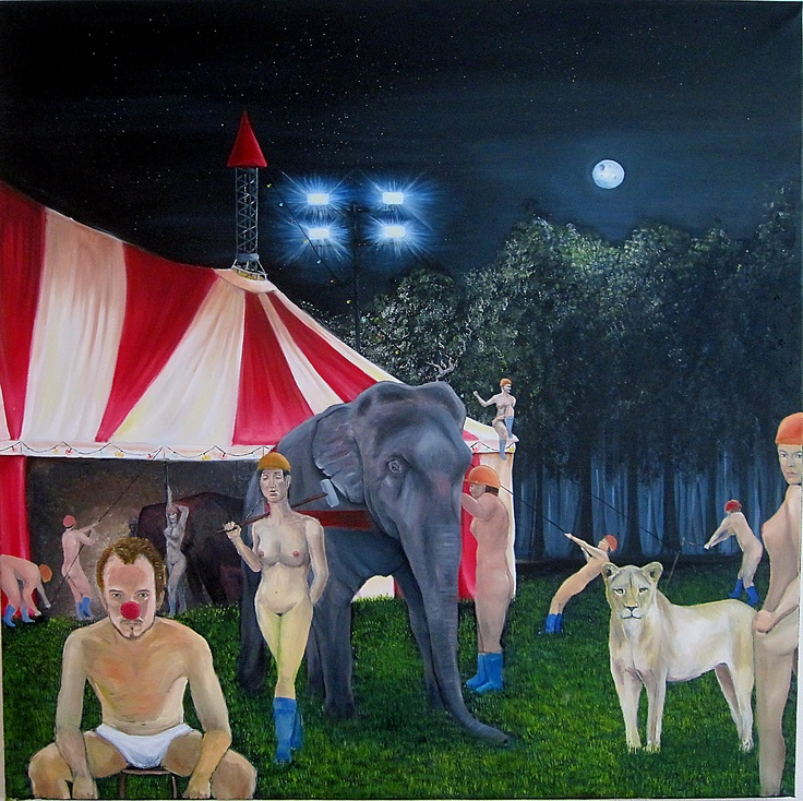 Midnight at the circus - Oil on canvas - 100 cm times 100 cm