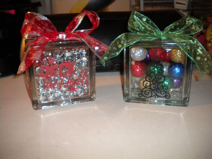 Diy glass block christmas decoration for Craft masks to decorate