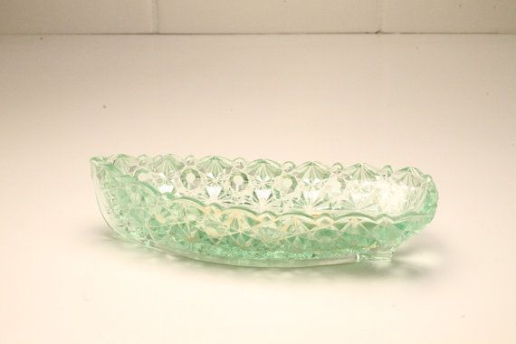 Candy Dish Cut Glass Candy Dish Green Candy by ClockworkRummage, $10.00