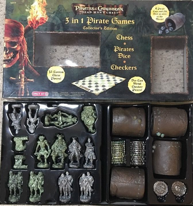 Pirates Of The Caribbean 3 In 1 Pirates Game Chess Pirates Dice Checkers Complet  | eBay