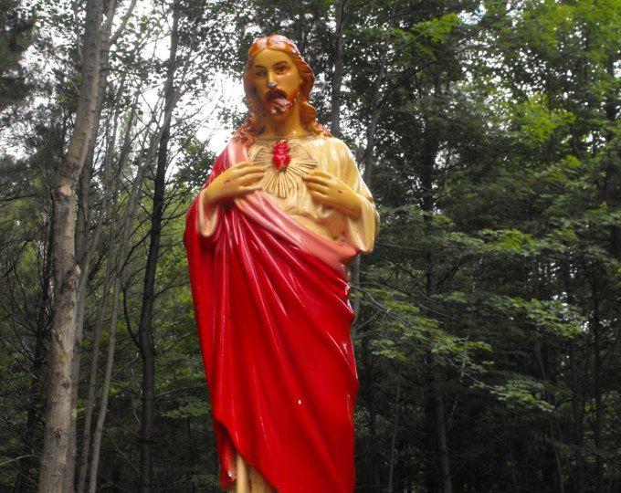 Religious Figurine, Jesus, Jesus  Scared Heart, Chalkware Jesus, Vintage Chalkware Jesus,Jesus Statue, Scared Heart Statue, Religious Decor,