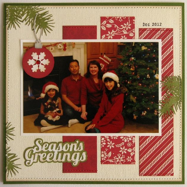 Today I have a layout and card to share using several of Lori's SVG shapes along with her This & That Christmas Collection which she designed for Echo Park last year.      I made this quick and simple