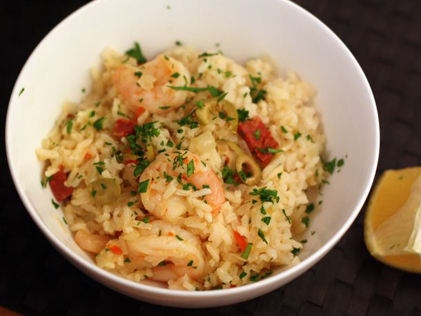 Dinner Tonight: Rice with Chorizo, Shrimp, and Green Olives | Recipe