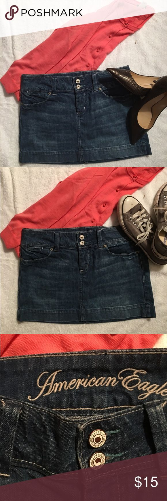 American Eagle Jean Mini Skirt. American Eagle Jean Mini Skirt.  I have two teenage girls. Needless to say we have A LOT of jean skirts, in various sizes. Check out our variety, and don't forget to bundle. American Eagle Outfitters Skirts Mini