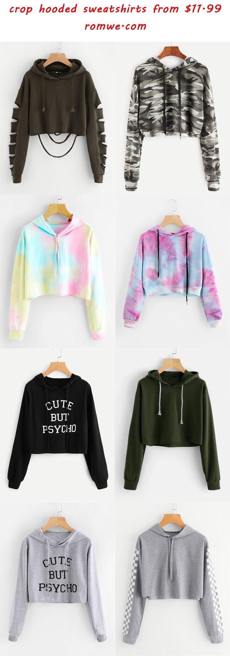 hooded crop sweatshirts 2017 - romwe.com