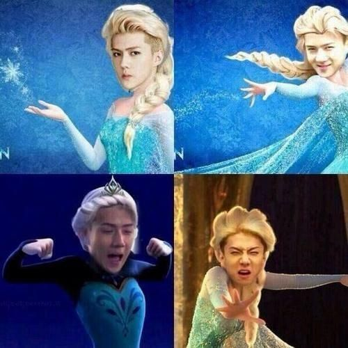 """the hyungs never bothered me anyway"" #sehun #exo #frozen OMg too much imagination .. xd"