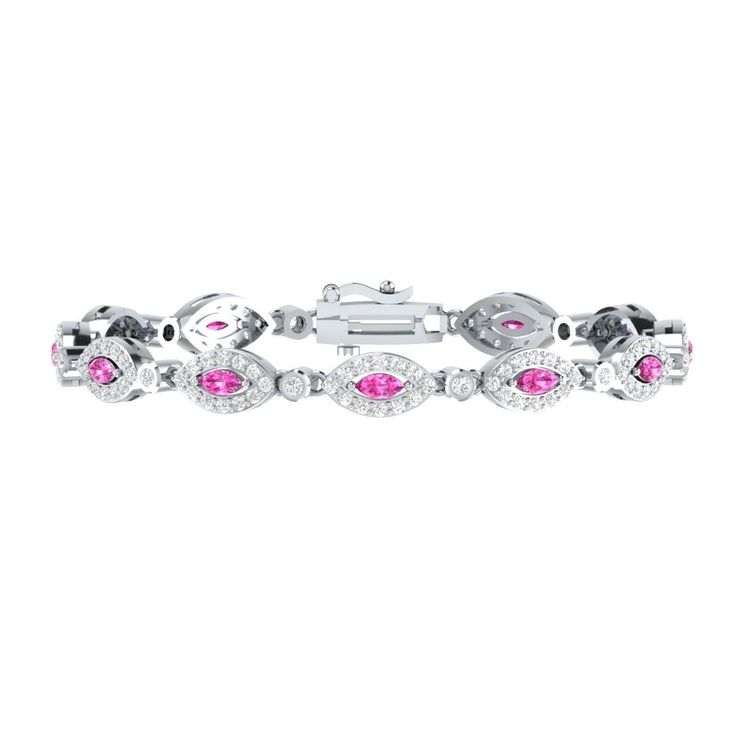 "New 4.10 Ct Pink W/ White Sapphire Sterling Silver Tennis Bracelet 7"" For Womens #braceletrealgold #Tennis"