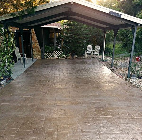 DIY stamped concrete driveway and more fence, concrete edging, driveway, tool catty