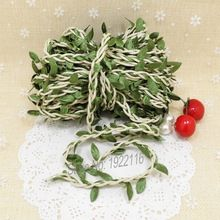 2 Meters Natural Twine String with Leaf DIY craft supplies burlap wedding decoration wedding centerpieces rustic wedding decor(China (Mainland))