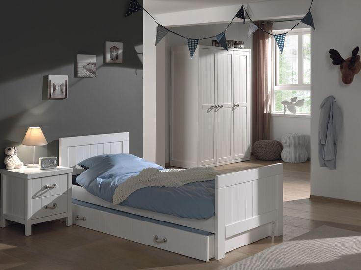 Ensemble 4 pièces pour chambre enfant moderne avec lit 90x200, chevet, tiroir-lit et armoire 3 portes coloris blanc