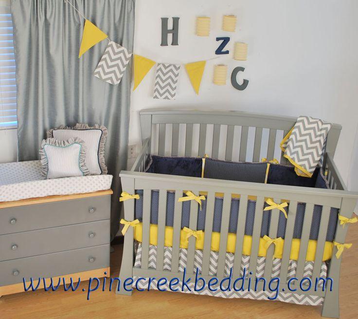 Grey Chevron with navy and yellow crib bedding