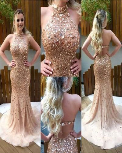 A9-Shinny Mermaid Prom Dresses,Nude Halter Formal Dresses,2017 Evening Gowns,Crystal Beaded Open Back Pageant Dresses 2017