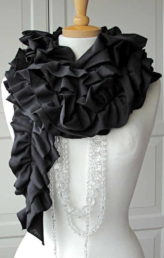 Charcoal Grey DOUBLE RUFFLE Scarf. her designs are gorgeous!
