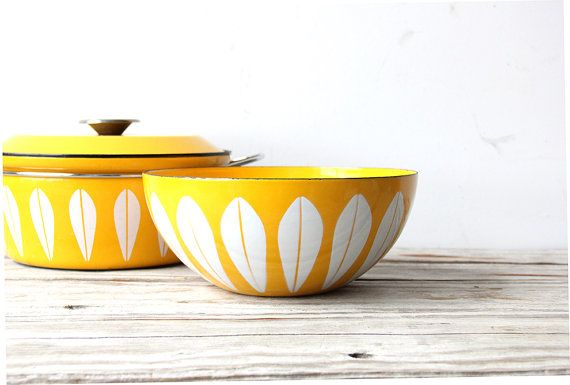 Extra Large Cathrineholm Yellow Bowl by GallivantingGirls on Etsy, $189.00