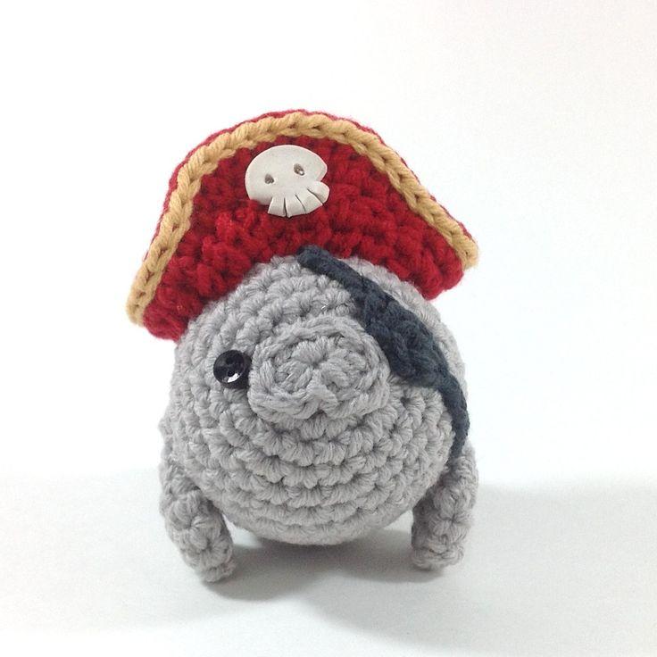 Pirate Manatee, Handmade Amigurumi Toy. $25.00, via Etsy.