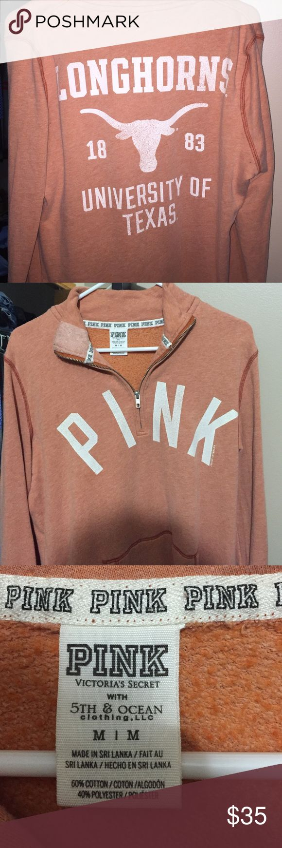 University of Texas Longhorns Quarter Zip Size medium U of Texas quarter zip, worn once PINK Victoria's Secret Sweaters