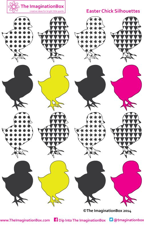 Cheep cheep! Free printable Easter chicks for collage, cardmaking, bunting and beyond. Download at The ImaginationBox