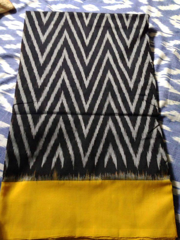 Ikkat Chevron Silk Saree - Black & Mustard Yellow
