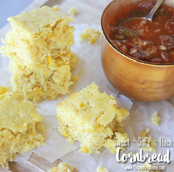 This is a sponsored post written by me on behalf of Campbell Soup Company. All opinions are 100% mine. This sweet cornbread recipe couldn't be simpler!  It is made with only three ingredients…