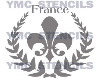 STENCIL Laurel Wreath Fleur de lis with Crown by ArtisticStencils