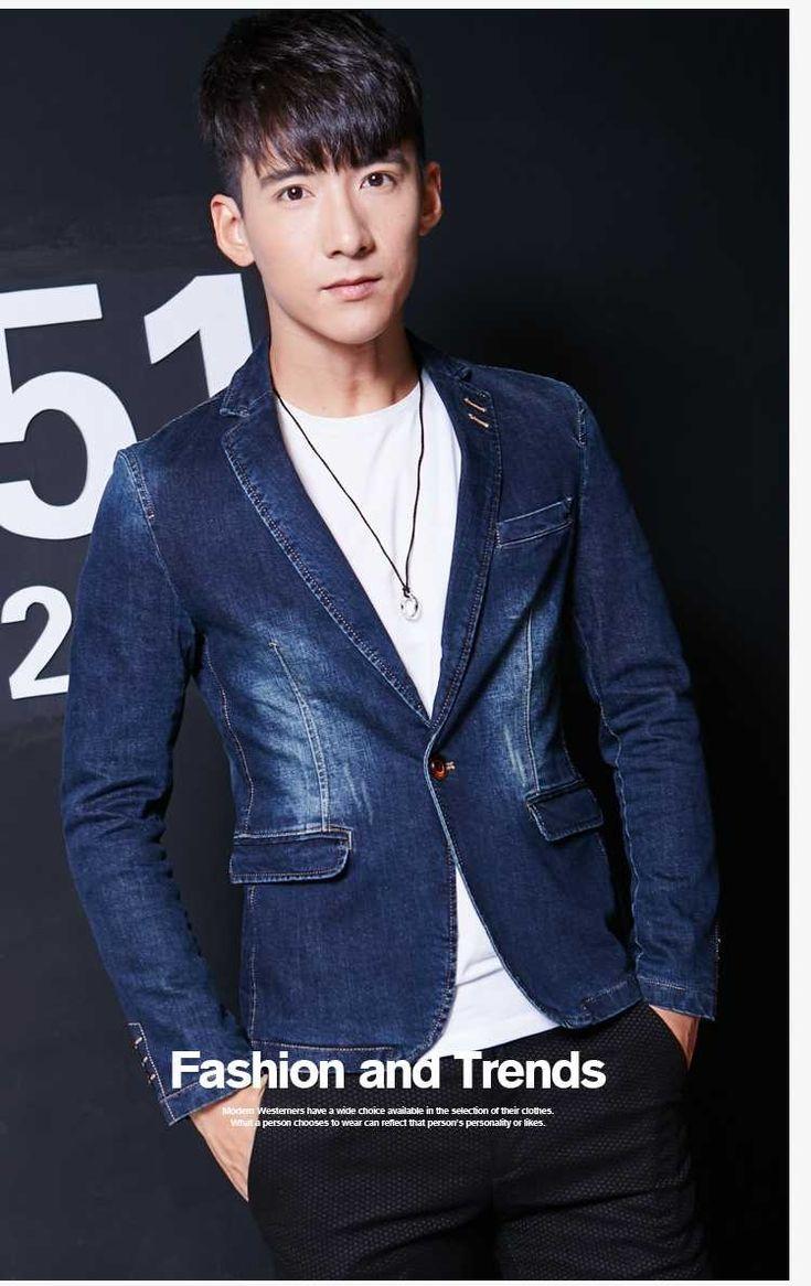 Casual Blazers Men Jackets 2016 Top Fashion Slim Fit Leisure Blazers Men Male Denim Blue Blazer Party Dress Clothing A1707