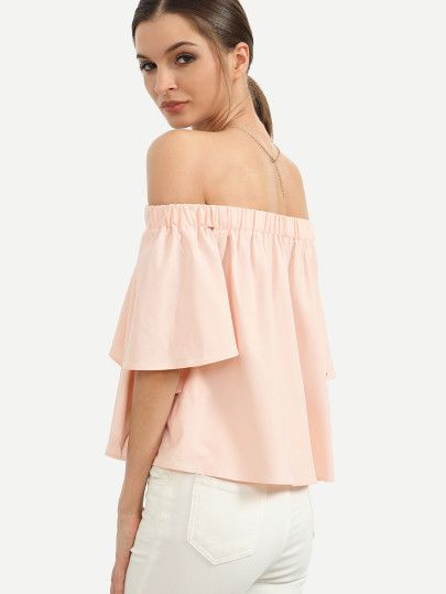 Pink Off The Shoulder Ruffle BlouseFor Women-romwe