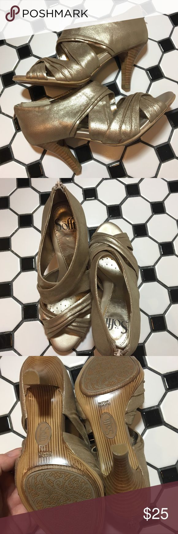 """Sofft metallic gold heel 6 These show no signs of wear. They are a soft leather almost fabric type feel. Open toe, zipper on the back. Wood look heel (3"""") and bottom. Nice grip on the soul. This brand is very comfortable. Runs true to size. Great shoe for the holidays!! Sofft Shoes Heels"""