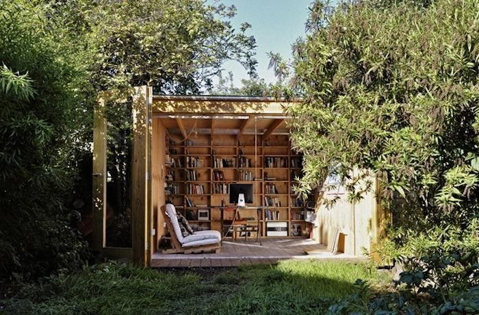 Plywood garden shed, office, and library, Gardenista