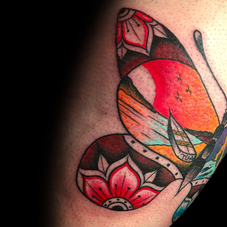 Day-half of a Trad Butterfly. Made by Andrea Magrassi @ Art Of Camden Tattoo Shop