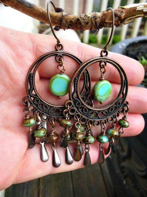 Chandelier earrings w/scroll filigree, antique copper, and green Czech.