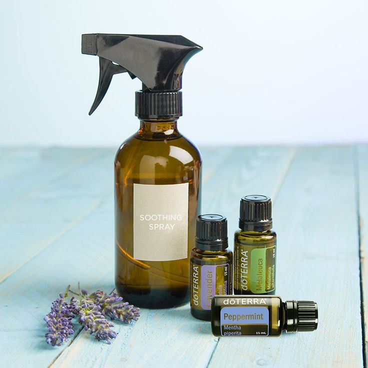 Too much sun exposure? Try making this do-it-yourself soothing spray with Lavender, Melaleuca, and Peppermint essential oils to help provide skin relief.