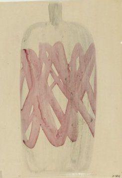 Zdenka Strobachova, design for glass vase, gouache on plasticfoil, 1962