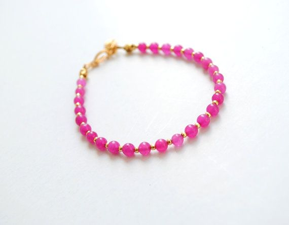 Fuchsia bracelet friendship bracelet jade bracelet by elfinadesign