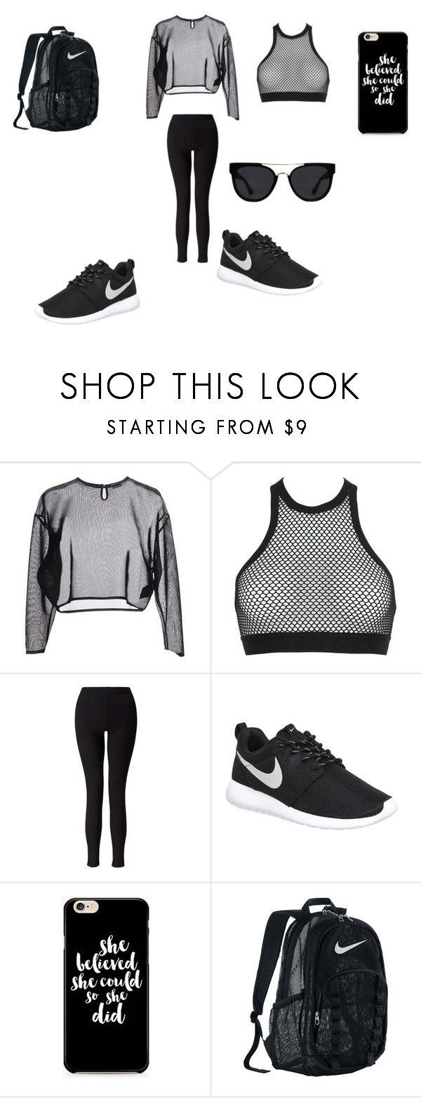"""""""Hip-hop dance class outfit #2!!"""" by dancerlove7 ❤ liked on Polyvore featuring Yves Saint Laurent, Dsquared2, Miss Selfridge, NIKE and Quay"""