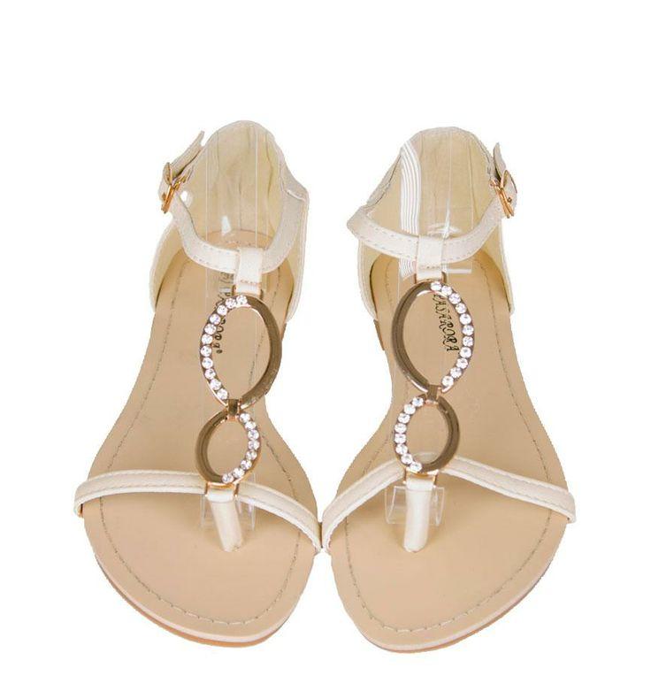 Sandale Dama Energy Beige  -Sandale talpa joasa  -Design comod  -Detaliu aplicatii strasuri  -Se inchid cu catarama