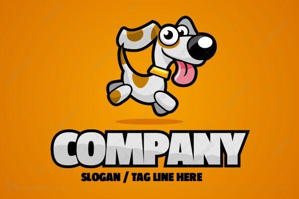 Logo for sale: Cartoon Dog Running Logo