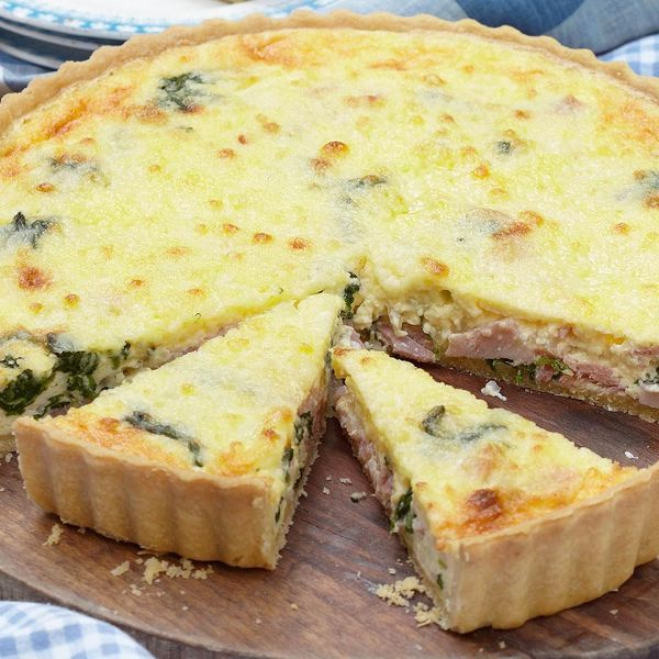 Great for lunch or for a party, this spinach, gruyère and ham quiche is so simple to make. Mary Berry uses tangy gruyère cheese to really lift the flavours.
