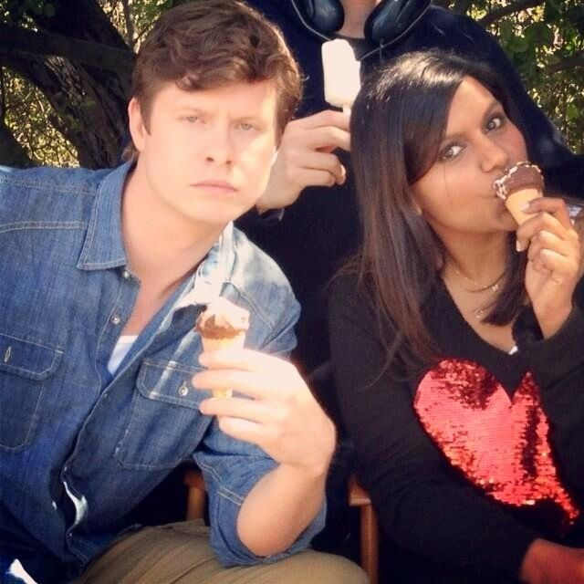 Anders Holm (Casey) and Mindy Kaling (Mindy) eating ice cream cones on the set of The Mindy Project.