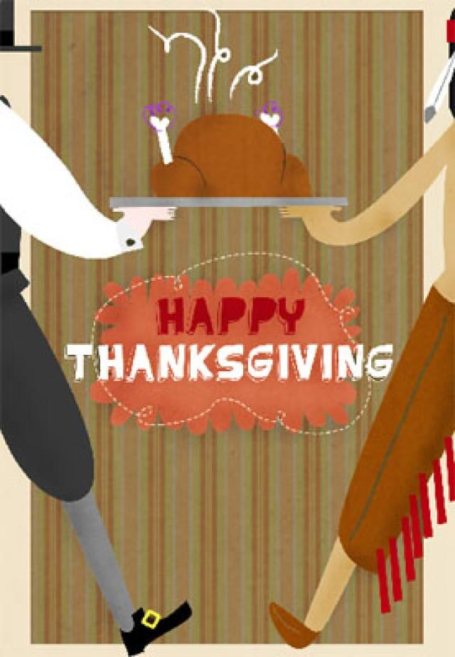 Print a Free Thanksgiving Greeting Card to Send to Family and Friends: The First Thanksgiving by Greetings Island