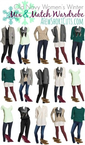 15 Outfits for under $170 shipped! PLUS SHOES! Now that is a bargain! Check out this Old Navy Women's Winter Mix & Match Wardrobe
