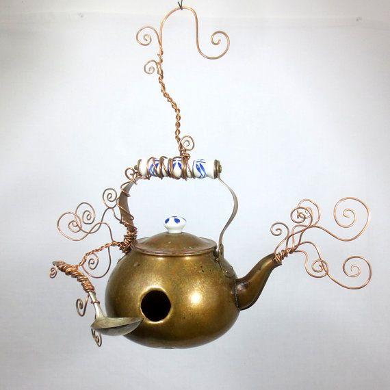 Calming Swirls of Steam Copper Teapot Birdhouse Reclaimed Tea Kettle on Etsy, $85.00