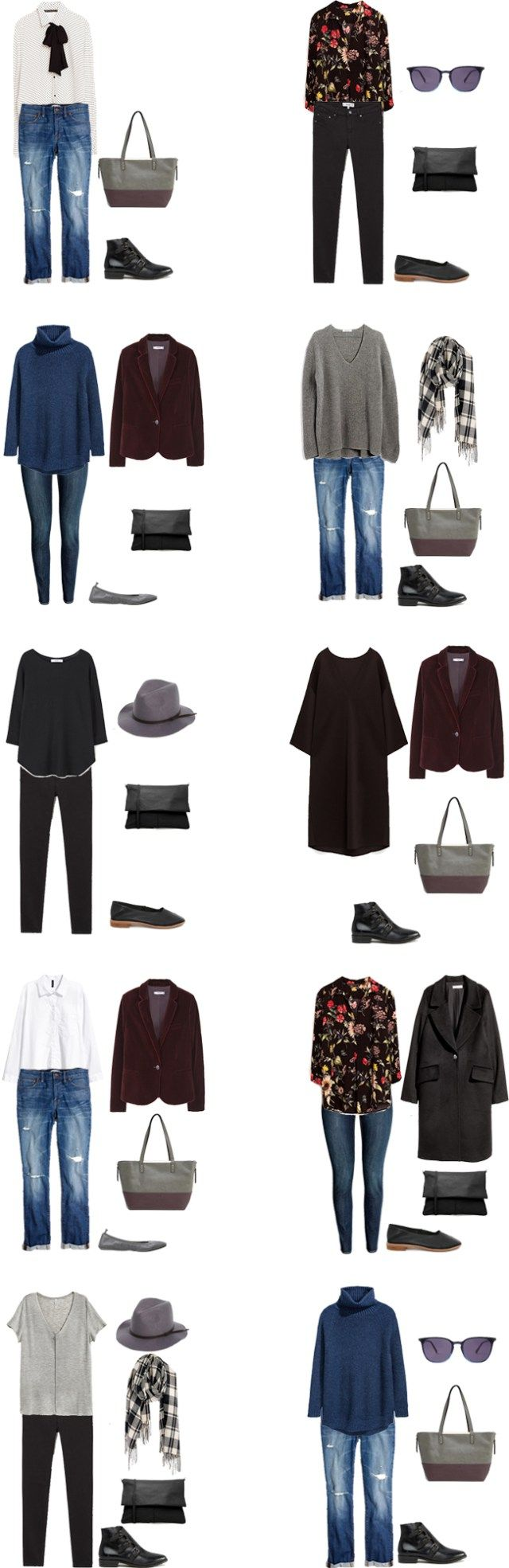 Outfit 1 – Floral Blouse • Zara | Blazer • Mango | Boyfriend Jeans • Madewell | Tote • Asos | Black Flats • Jeffrey Campbell Outfit 2 – Blue Turtleneck • H&M | Black Pants • Mango | Sunglasses • Azale