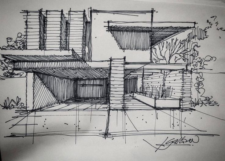 """705 Me gusta, 3 comentarios - @gallardo.arquitectura en Instagram: """"Sketch of the Day G/A #sketchoftheday . . .  If you need an Architectural Project, please contact…"""""""