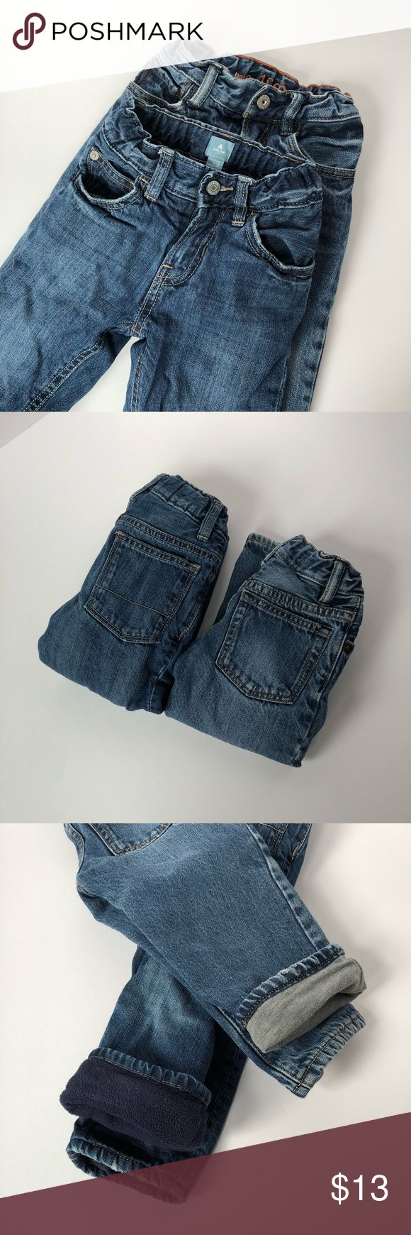Gap 2T lined jeans Baby Gap jeans, size 2T. Both pairs lined. One lined in gray jersey material and the other in navy fleece. Perfect for keeping warm in winter! Great used condition. Adjustable waist on both. GAP Bottoms Jeans