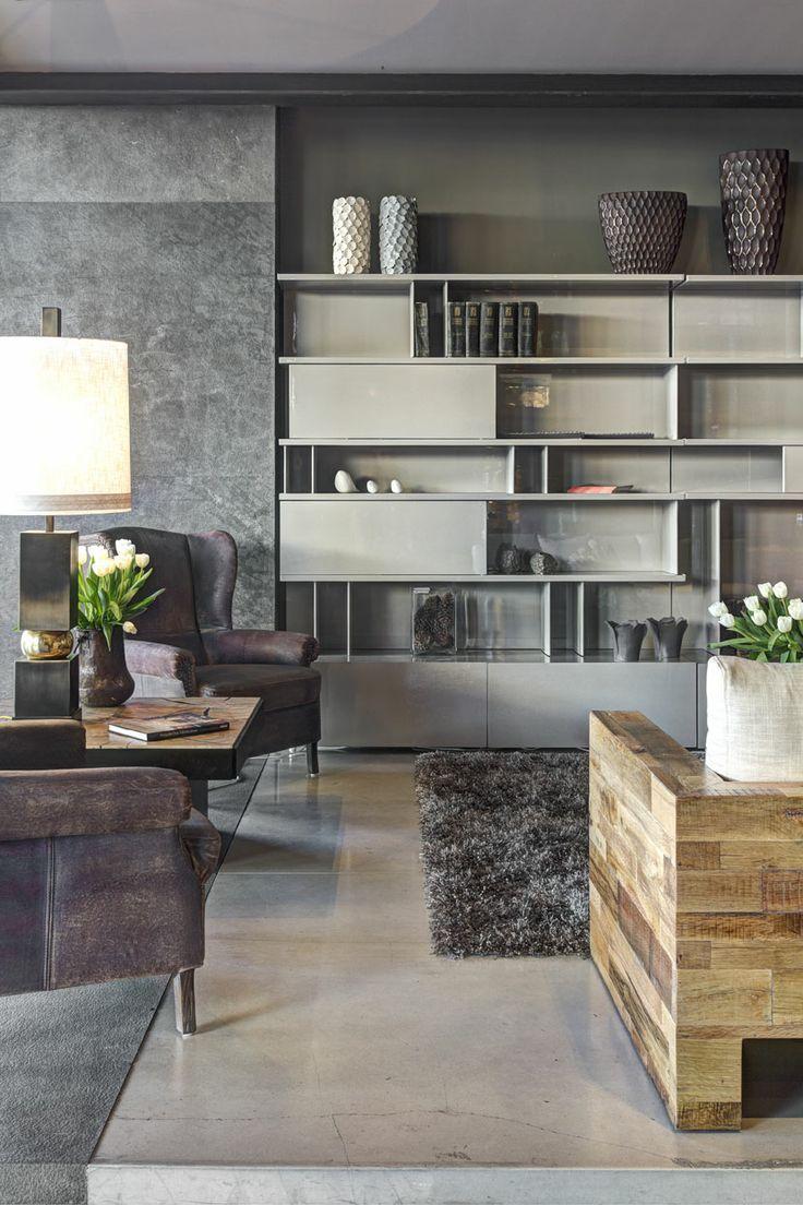 Hermoso librero en color gris al alto brillo