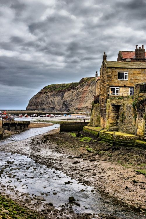 Staithes Harbour at low tide, Yorkshire, England
